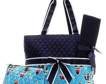 Cactus Print Monogrammed Diaper Bag Turquoise with Navy Blue Trim