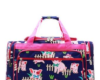 20 inch Pig Print Canvas Monogrammed Duffle Bag Hot Pink Trim