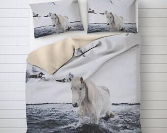 Icelandic Horse Photo Bedding, Horse Duvet Cover, Printed Bedding Sets Cover, Comforter Cover King, Mens Duvet Covers, Unique Duvet Covers