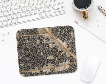 Dry Leaf Mousepad, Nature Art Photo, Macro Photography, Office Desk Gifts, Unique Mouse Pad, Mousepad, Printed Mouse Pad