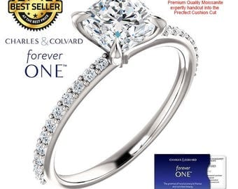 1.35 Carat Cushion Moissanite (Forever One) Ring in 14K Gold (with Charles & Colvard authenticity card)