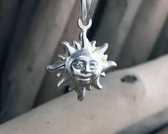 Sterling Silver Sun Pendant Necklace, Tiny Necklace, Sun Necklace, Sun Charm, Silver Necklace, Sun Pendant SKY046