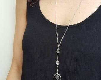Herkimer Diamond Quartz Necklace, Silver Y Necklace, Long Silver Necklace, Quartz Necklace, Sterling Silver, Long Quartz Necklace