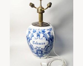 Vintage Blue Delft Faience Lamp - Delft Blue - Goedewaagen Holland - Delft Blue Lamp