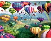 "Diamond Painting Kit  • Full Drill • Round Drills • Hot Air Balloon Festival • 12 x 16"" 40x30cm • US Seller • Ships Next Day Priority Mail"