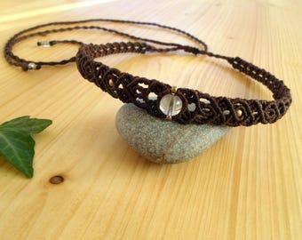 Crystal quartz macrame choker, macrame jewelry, hippie choker, crystal healing, macrame tiara, bohemian choker, macrame headband