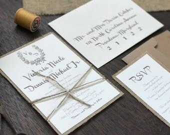Vintage Wedding Invitation Set, Rustic Wedding Invitation, Burlap Wedding Invitation, Shabby Chic Wedding Invitation, Rustic Chic Wedding