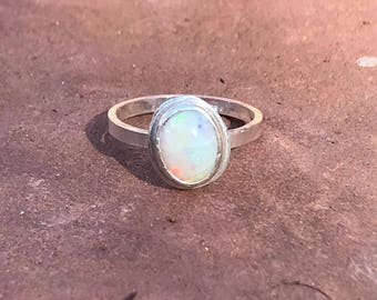 Genuine OPAL simple RECYCLED sterling silver ring. Handmade in Sedona, AZ.