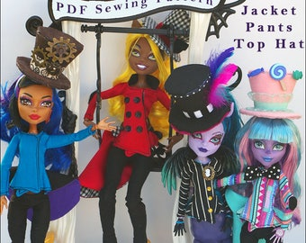 "MAD BAZAAR Jacket, Pants, Top Hat Doll Clothes Sewing Pattern for 9.5"" - 11.5"" Fashion Dolls like Monster High - Instant PDF Download"