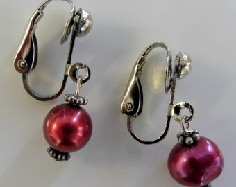 Clip on earrings-plum earrings-pearl earrings-gemstone earrings-semi precious earrings-handcrafted-one off-freshwater pearls-pink pearls