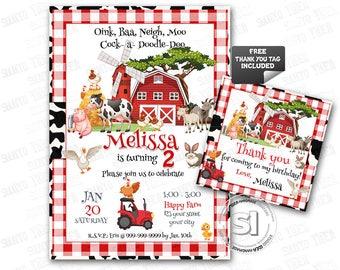 Barnyard Farm Party Birthday Custom Printable Invitation with FREE Thank you Matching Tag- Farm Animals Party DIY Invitation