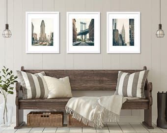 SALE, New York Wall Art Print Set, New York Photography, Set of 3 Prints, New York City, Manhattan Bridge, Flatiron, Chrysler Building