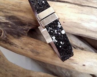 Bracelet black leather spangled glitter Boho jewelry By Dodie