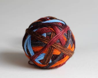 "Dyed to Order: ""Arthur Weasley (6 color self-striping)"" -  Pumpkin Orange, Anglia Blue, Maroon, Woodsy Brown, Dark Gray, Wine Purple Stripes"