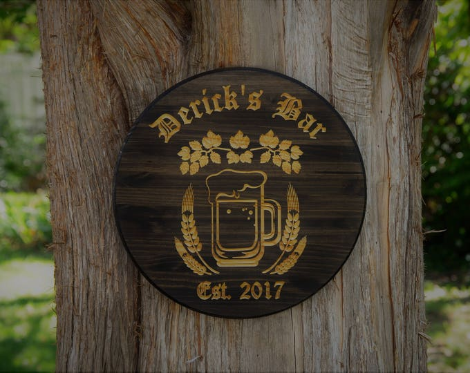 Personalized Bar Sign Decor Beer Art Barrel Craft Beer Sign Man Cave Sign Home Brewing Beer Wall Art Personalized Bar Sign