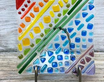 Square Rainbow Tribal Dish/Pride/Art/Glass Plate/Unique/Square