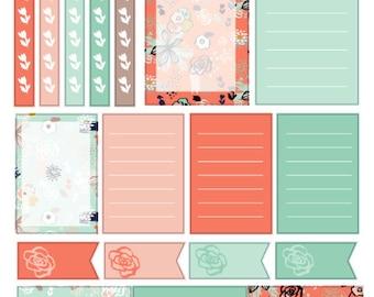 Floral Note Stickers , 18 piece set , Journals , Calendar , Remember , Labels , School , Teens , Adults