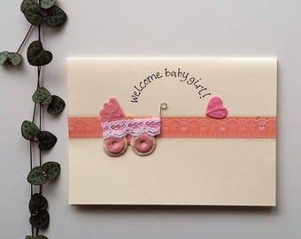 Welcome Baby Girl - Baby Pram Card - a6 blank card, new baby girl card, it's a girl card, handmade card