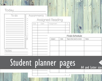 Printable student planner. Printable Academic planner. Student planning pages, undated monthly, weekly, daily pages. To do list, Goals list.