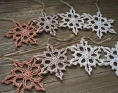 small crochet snowflakes, set of 8, Christmas ornaments, winter