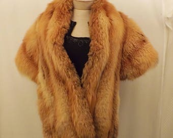 50's Vintage Natural Red Fox Fur Stole Cape