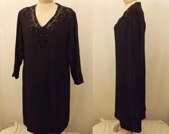 Vintage Designer Elan Black Evening Dress w Sequins Size 12 / 14