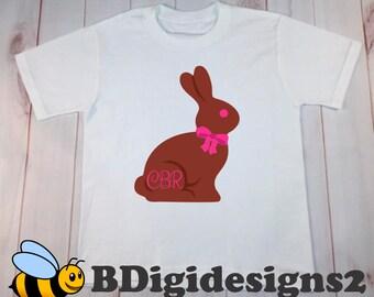 Personalized Girl Easter Bunny Heat Press Shirt - Youth/Women