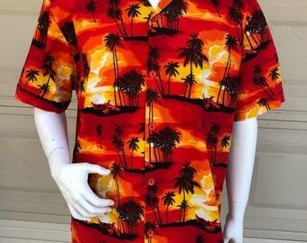 Vintage Hawaiian Shirt Red Orange Yellow Sunset Aloha Shirt Tiki Shirt Size 2X