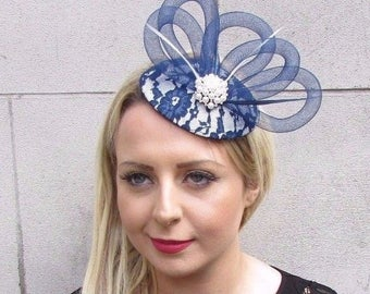Cream White Navy Blue Feather Lace Fascinator Hat Races Wedding Pillbox 3618