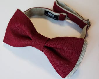 Burgundy Bow Ties - Burgundy, Wine, Maroon, Marsala Linen Bow Tie  - Groomsmen - Burgundy Wedding - Custom Bow Ties - Pre-tied / Self-tie