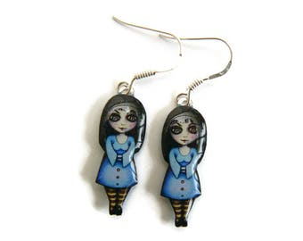Earrings small witches blue resin