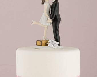 """Porcelain """"Honeymoon Bound"""" Wedding Cake Topper- Bride and Groom - Hair personalisation available"""