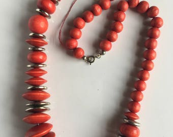 Vintage Necklace Red Silver Wood Bead
