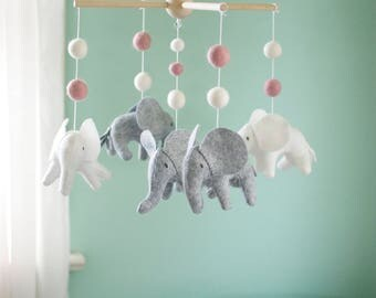Baby mobile, Elephant mobile, crib mobile, Gray, white and pink nursery, Baby Shower Gift, musical mobile