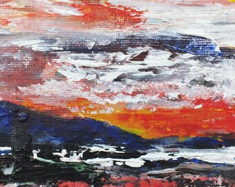Original Painting,Painted Sky, 4 x 6 inches,  Acrylic on Canvas, Abstract Art, Impressionism