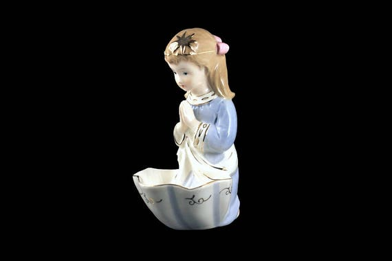 Holy Water Font, Holy Water Holder, Praying Girl Figurine,  Made in Japan, Gold Trimmed,