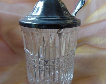 Vintage Heavy Weight Cut Crystal Jam-Jelly Condiment Jar with Original Silver Plate Lid and spoon