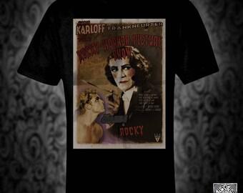 Rocky Horror Show vintage style Movie Poster T-shirt, film comedy musical karloff riffraff franknfurter brad janet
