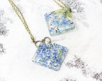 terrarium necklace gift friend birthday gift/idea mom blue jewelry/for/women gift nana butterfly necklace blue gift floral necklace Рю119