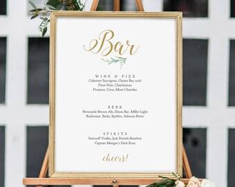 """Bar Sign, Printable Wedding Bar Menu Sign, 8x10"""" and 18x24"""" printable signs.'Greenery', Wedding Signage. Edit in ACROBAT"""