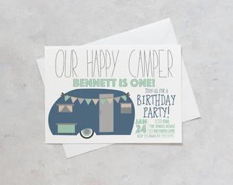 One Happy Camper Birthday Invitation Camping Retro Jpg 340x270 Clark