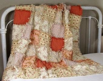 Lightweight Crib Rag Quilt - Lap Rag Quilt – or Picnic Rag Blanket – Great Birthday, Wedding, Baby Shower Gift