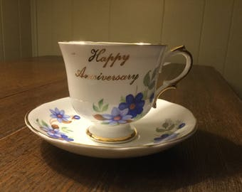 Royal DuchessFine Bone China Coffee Tea Cup Saucer Happy Anniversary made in England