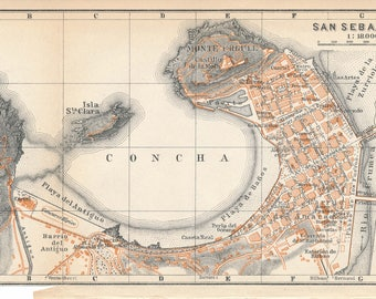 1914 San Sebastian Spain Antique Map