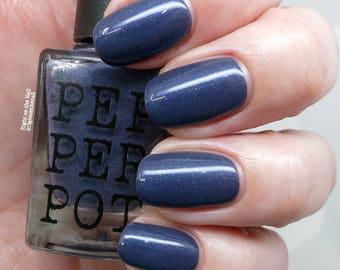 Dark Navy Blue Nail Polish Silver Blue Shimmer Nail Polish Bath Beauty Paradise Awaits Gift For Her Gift Under 15 Pepper Pot Polish