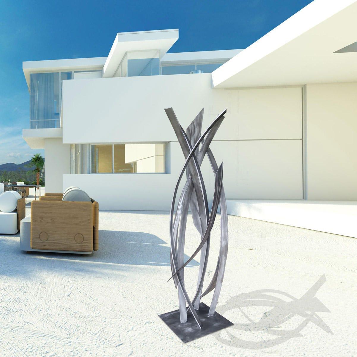 Large Modern Garden Sculptures: NEW Modern Abstract Grey Large Metal Outdoor Sculpture