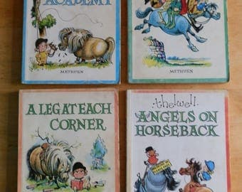 Four Vintage THELWELL Books: Angels on Horseback, Leg at Each Corner, Riding Academy, Thelwell Country c1960