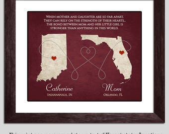 Mom Gift - Mom Long Distance Gift - Mother Daughter Gift - Mom Christmas Gift Mothers Day Gift Mom Poem Christmas Present for Mother Mom Map