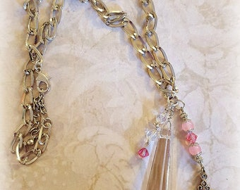 Crystal Chandelier Pendant, Vintage Rosary Cross, Silver chains, Pink Glass beads, Faith and Religious Jewelry, Upcycled Repurposed Jewelry