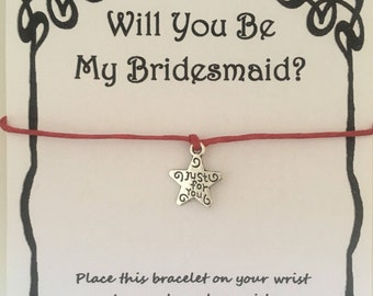 Will you be my Bridesmaid, card, wish bracelet, charm, bracelet, Bridesmaid, gift, bridesmaid card, wedding, various charms and colours